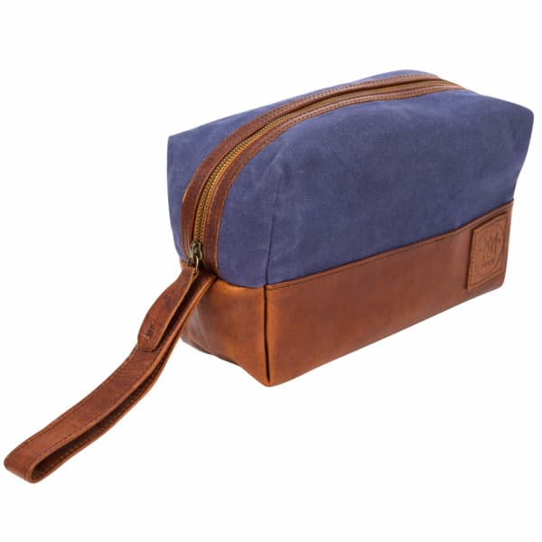MAHI LEATHER Canvas & Leather Classic Wash Shaving Toiletry Bag Dopp Kit in Navy and Brown