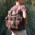 Paratrooper Style Genuine Leather Backpack In Russet Brown image