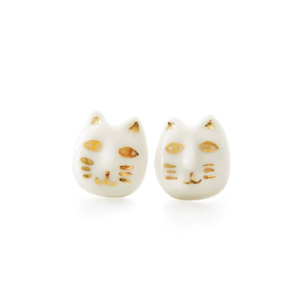 POPORCELAIN Porcelain Lucky Cat Stud Earrings