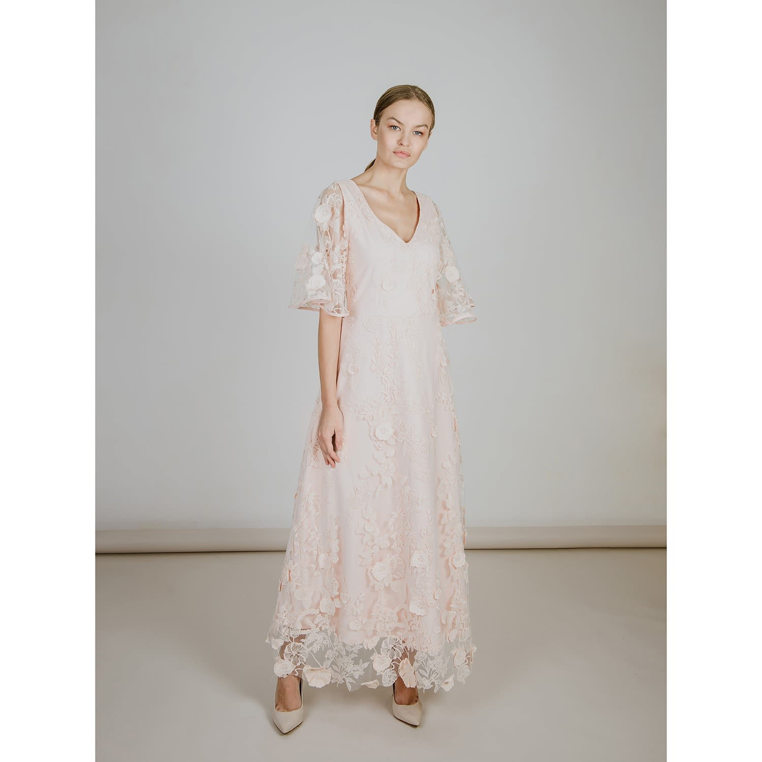 Silk Lace Light Pink Dress By Emelita