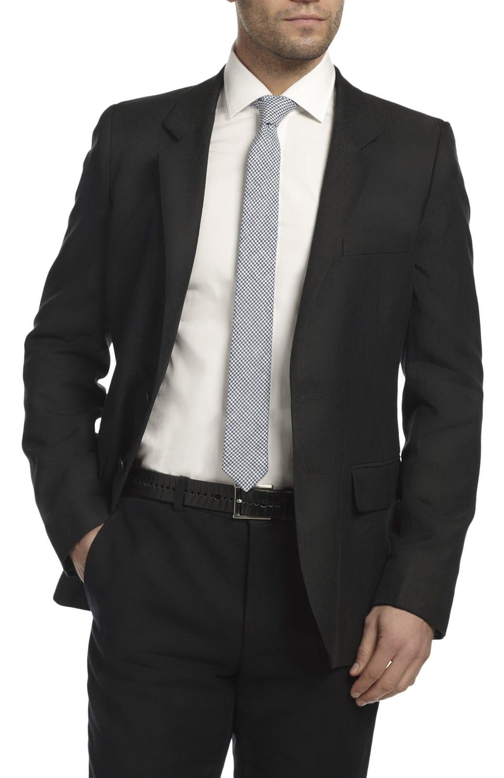 Skinny Tie Navy Gingham Hentsch Man Wolf Badger