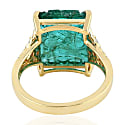18Kt Yellow Gold Flower Design Carving Emerald Pave Diamond Ring image