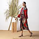 Red Long Kimono Wrap Dress Massami image