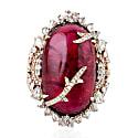 18K Solid Rose Gold Natural Diamond Rubylite Cocktail Ring image