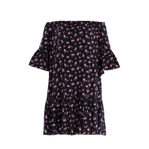 PAISIE Floral Print Bardot Dress with Gathered Hem & Flared Cuffs
