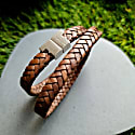 Tobacco Leather Double Wrap Bracelet - Stark Silver image