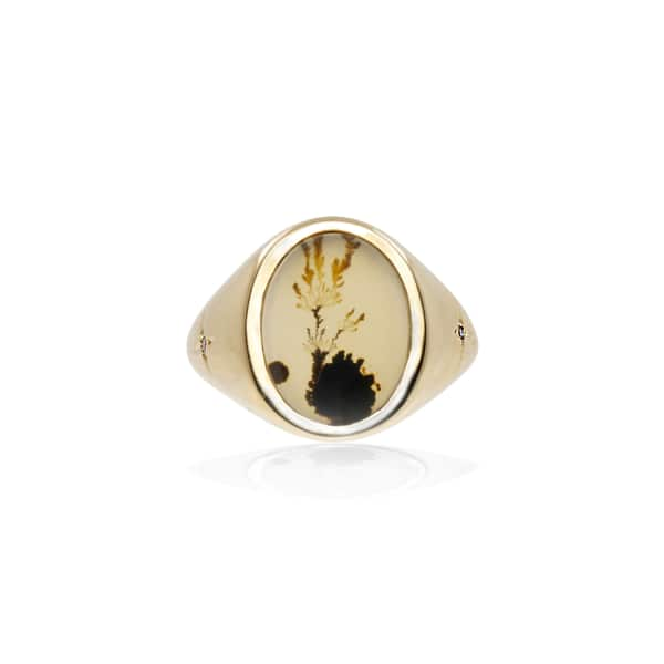 NO 13 Agate & Diamond Vertical Signet Ring – 9Ct Solid Gold
