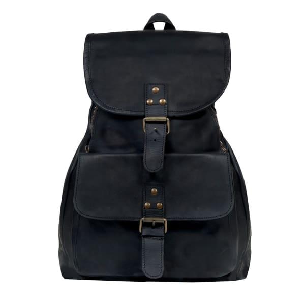 MAHI LEATHER Leather Explorer Backpack Rucksack Womens in Ebony Black