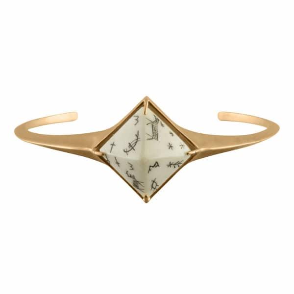 Sami Pyramid Reindeer Bangle Sandblasted Gold Vermeil