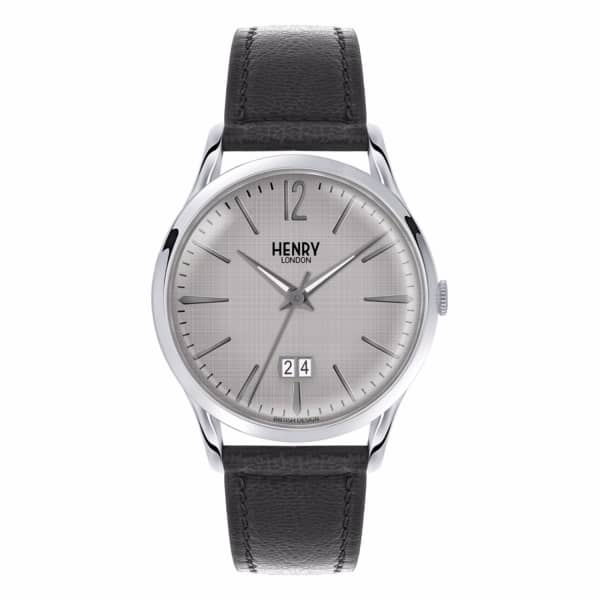 HENRY LONDON Men'S 41Mm Piccadilly Leather Jumbo Date Watch