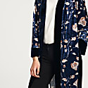 Floral Velvet Wrap Cardigan With Contrast Edge image