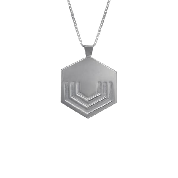 EDGE ONLY Hexagon Necklace Large In Silver
