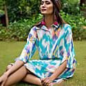 Ikat Linen Shirtdress Lilac Blue image