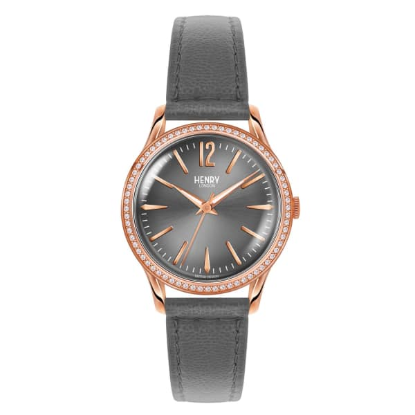 Ladies 34Mm Finchley Leather Watch With Stone Set Bezel in Grey/ Rose Gold from Wolf & Badger