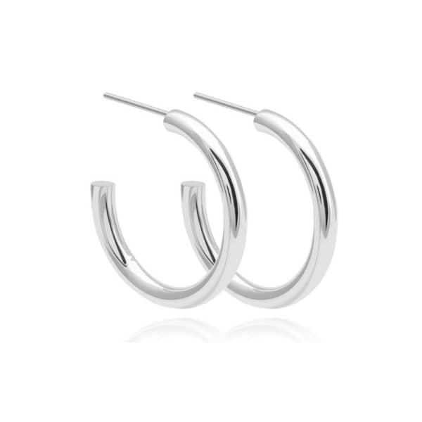 Astrid & Miyu Basic Large Hoop Earrings In Silver