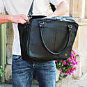 "Leather Oxford Zip-Up Satchel Briefcase Bag With 15"" Laptop Capacity In Black image"