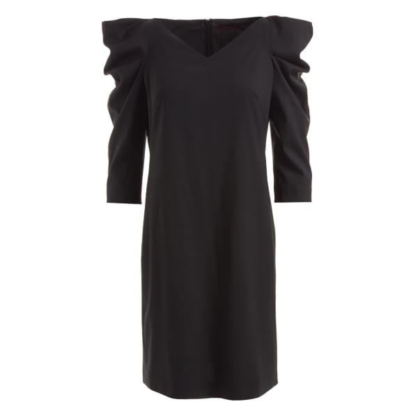 Sherry Draped Shoulder Wool Dress Black
