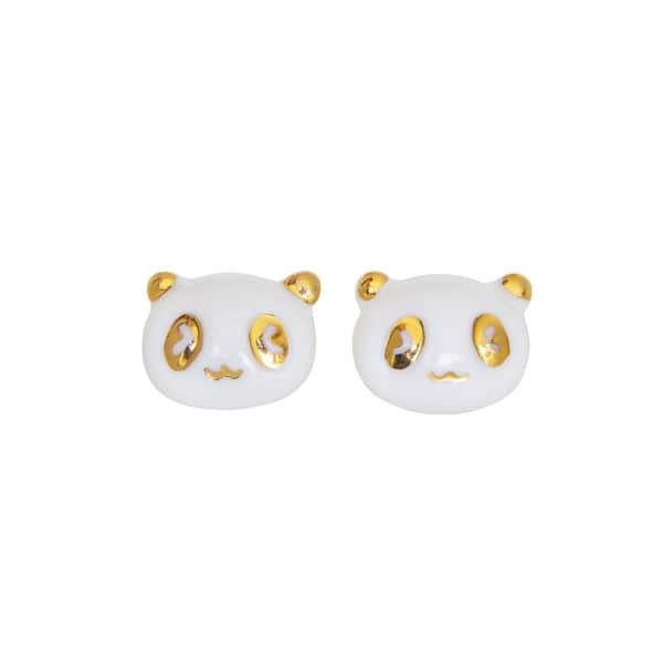 POPORCELAIN Porcelain Lucky Panda Stud Earrings