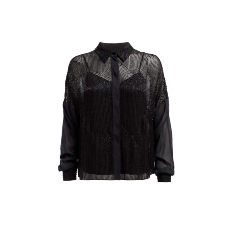 c297a34a Embellished Black Chiffon Shirt Blouse | WtR | Wolf & Badger