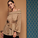 Lilly Bardot Off The Shoulder Metallic Knitted Top image