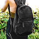 Leather & Canvas Classic Backpack In Black image