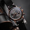 Verne Bi-Compax Rose Gold Grey - Black Leather image