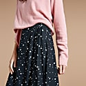 Luna Wrap Skirt In Black With White Stars image