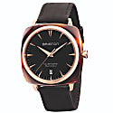 Briston Clubmaster Iconic Automatic Tortoise Shell, Semi-Glossy Black Dial And Rose Gold image