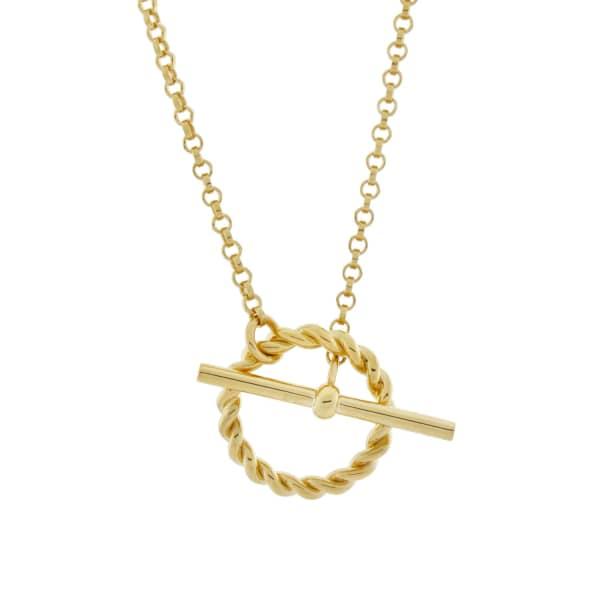 MONARC JEWELLERY Corda T-Bar Necklace Gold Vermeil