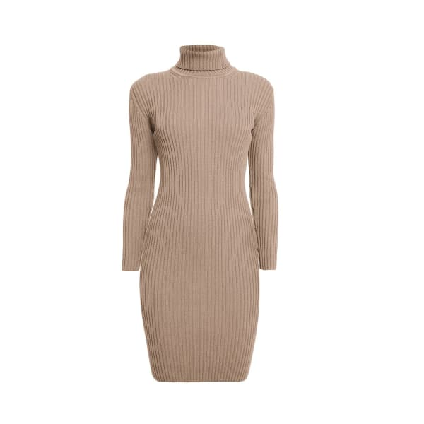 RUMOUR LONDON Claudia Oatmeal Ribbed Turtleneck Dress