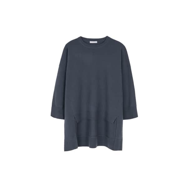 ILLE DE COCOS Merino Cape Sweater Slate Grey in Blue