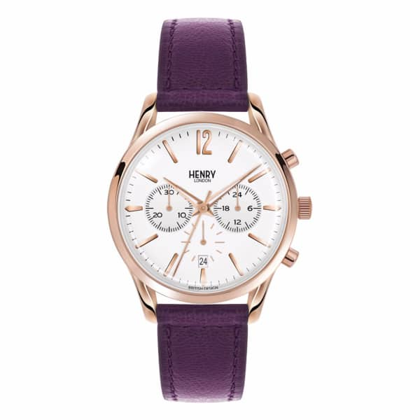 HENRY LONDON Ladies 39Mm Hampstead Chronograph Leather Watch