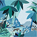 Silk Scarf In Blue With Forest Raining Afternoon image