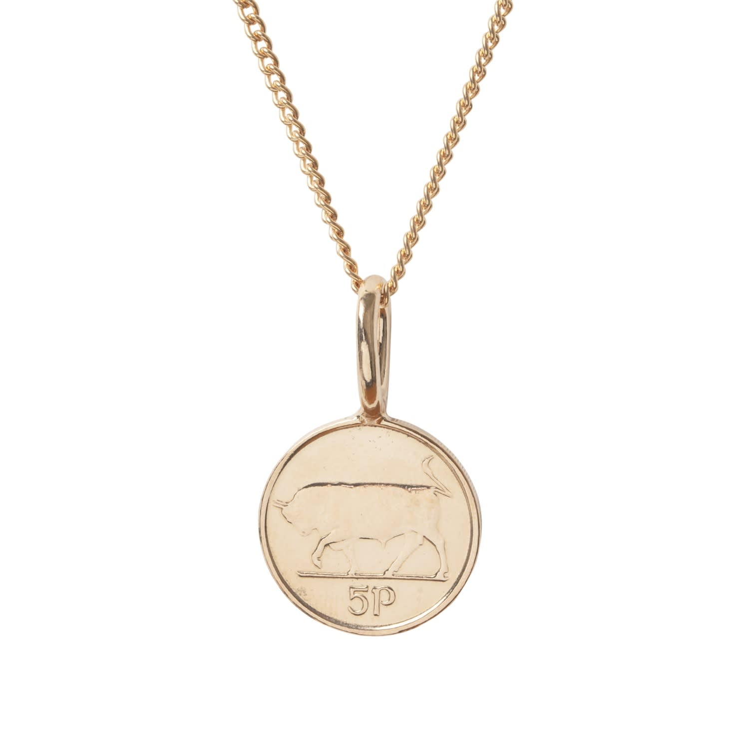 Irish 5p Coin Necklace in Rose Gold by Katie Mullally