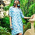 Zig Zag Linen Tunic Dress image