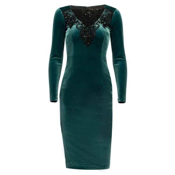 Nissa Elegant Velvet Dress With Lace Detail