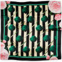 Large Artichokes Roses & Stripes Silk Scarf image