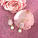 Nugget Rose Quartz With Freshwater Pearls Drop Earrings image