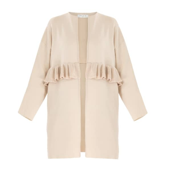 PAISIE Open Knit Cardigan with Ruffle Detail in Beige