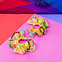 Multicolored Small Hand Crochet Ruffled Hoops image