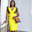 Sofia Dress Lime Yellow With Lace image