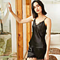 22Mm Organic Silk Camisole Short Set In Black With Scalloped Lace-Brigitte image