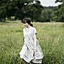 Light Grey Summer Dress With Flower Print & Ruffles image