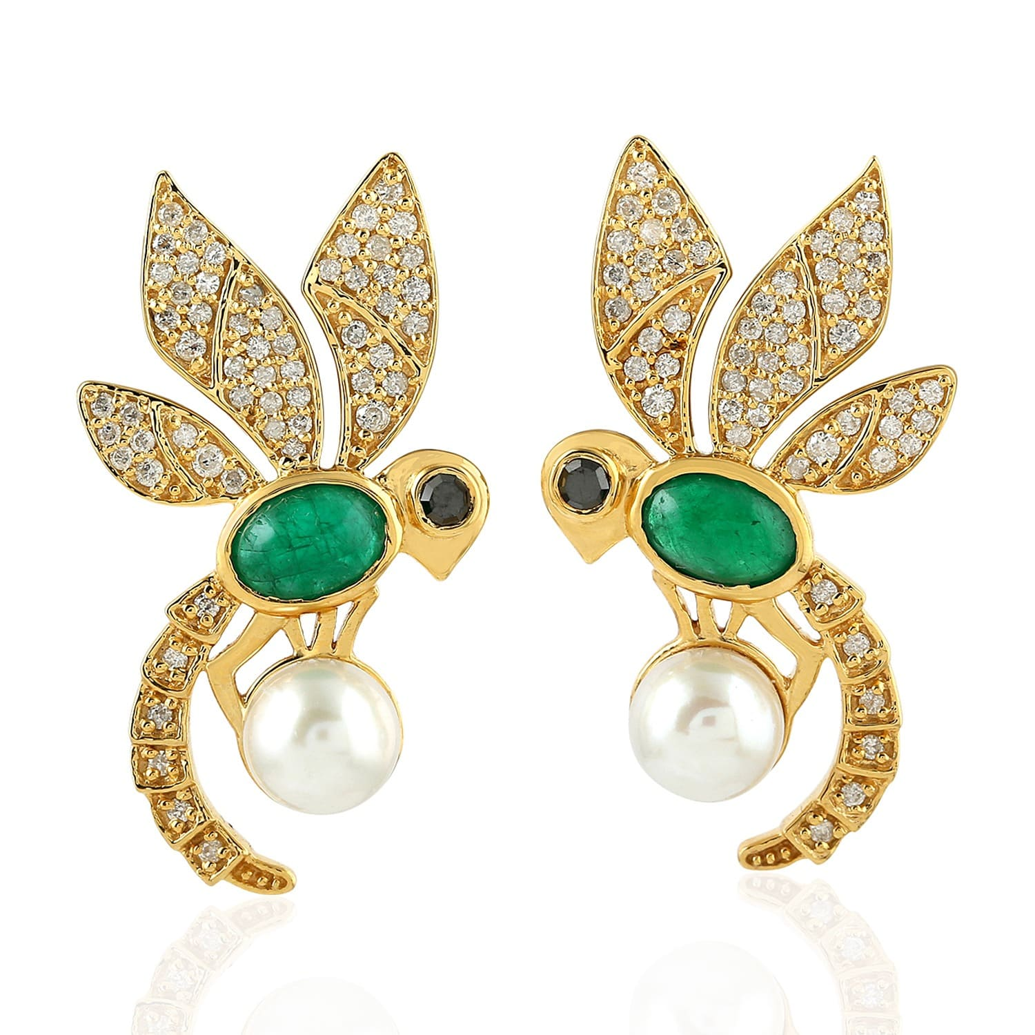 95f980f01 18K Gold Bee Earring With Pearl Emerald & Pave Diamonds | Artisan ...