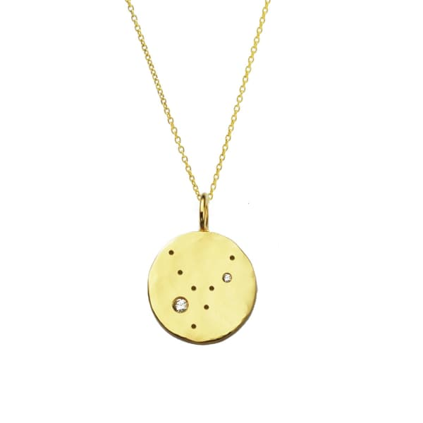 YVONNE HENDERSON JEWELLERY Virgo Constellation Necklace With White Sapphires Gold