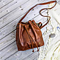 Classic Bucket Drawstring Bag In Vintage Brown Leather image