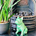French Bulldog Geometric Sculpture - Frank In Metallic Green image