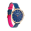 Montmartre Rose Gold Watch With Royal Blue & Hot Pink Leather Strap image