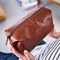 Classic Tan Leather Wash Bag image