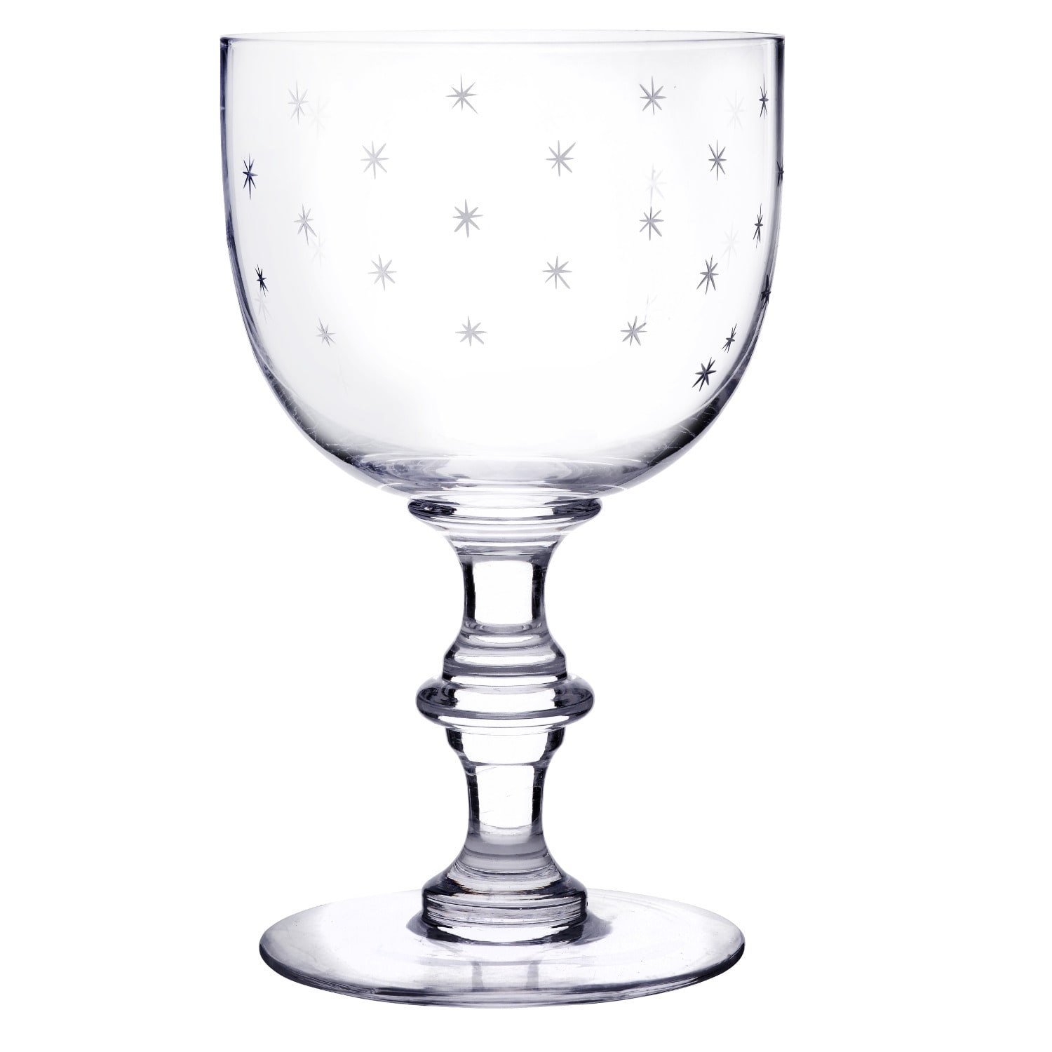 The Vintage List - Six Hand-Engraved Crystal Wine Goblets with Stars Design
